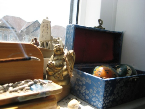 Another Little Buddha, one guarding the window, the other the door. Meditation Balls (pause) Insence.